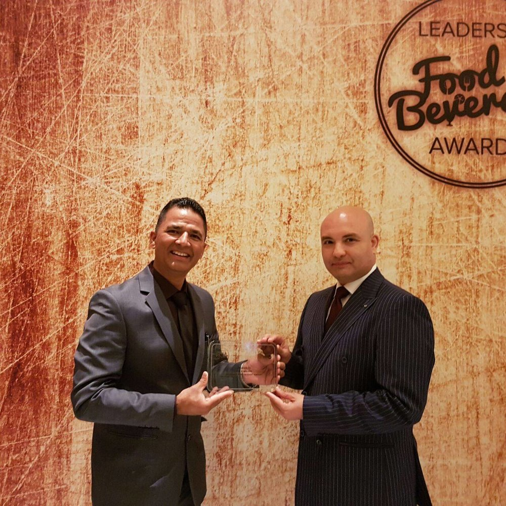 "Hari Sharan Budhathoki, Restaurant Operation Manager accepting the award at the ""Leaders in F&B"" Award ceremony on 9 November 2016"