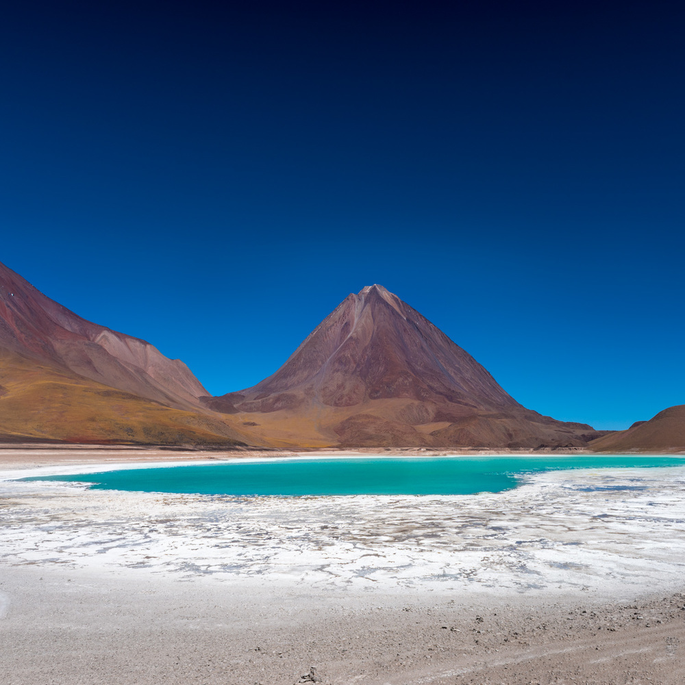Laguna Verde - you can see the old water levels in the white salt crust.