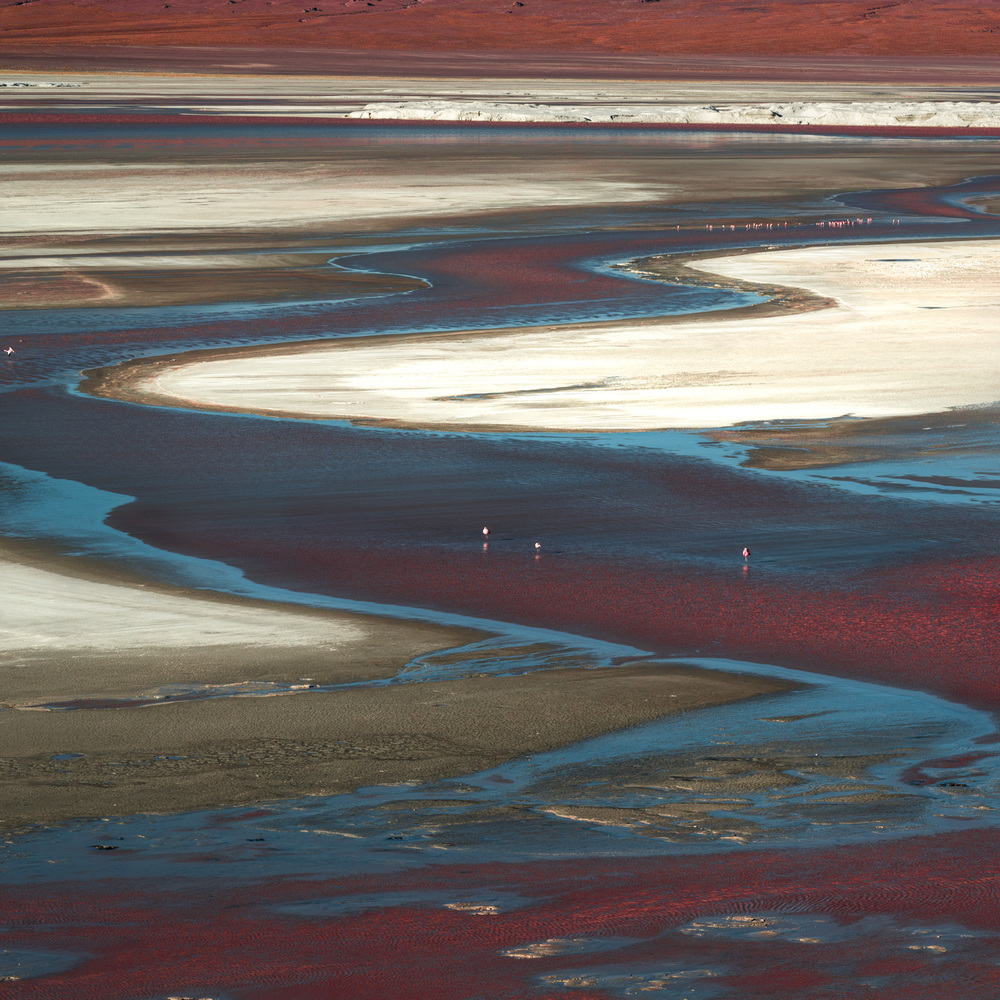 Meandering waters of Laguna Colorada