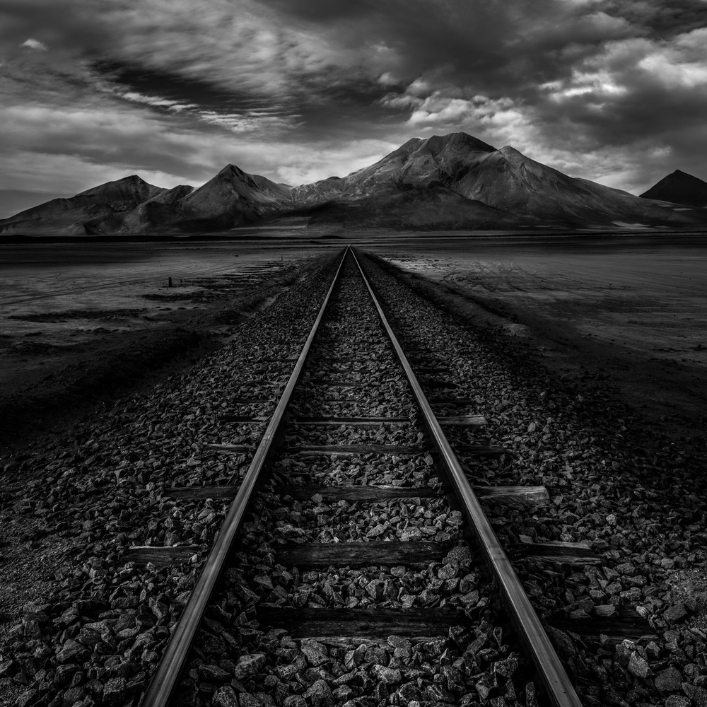 Tracks on the salt flats