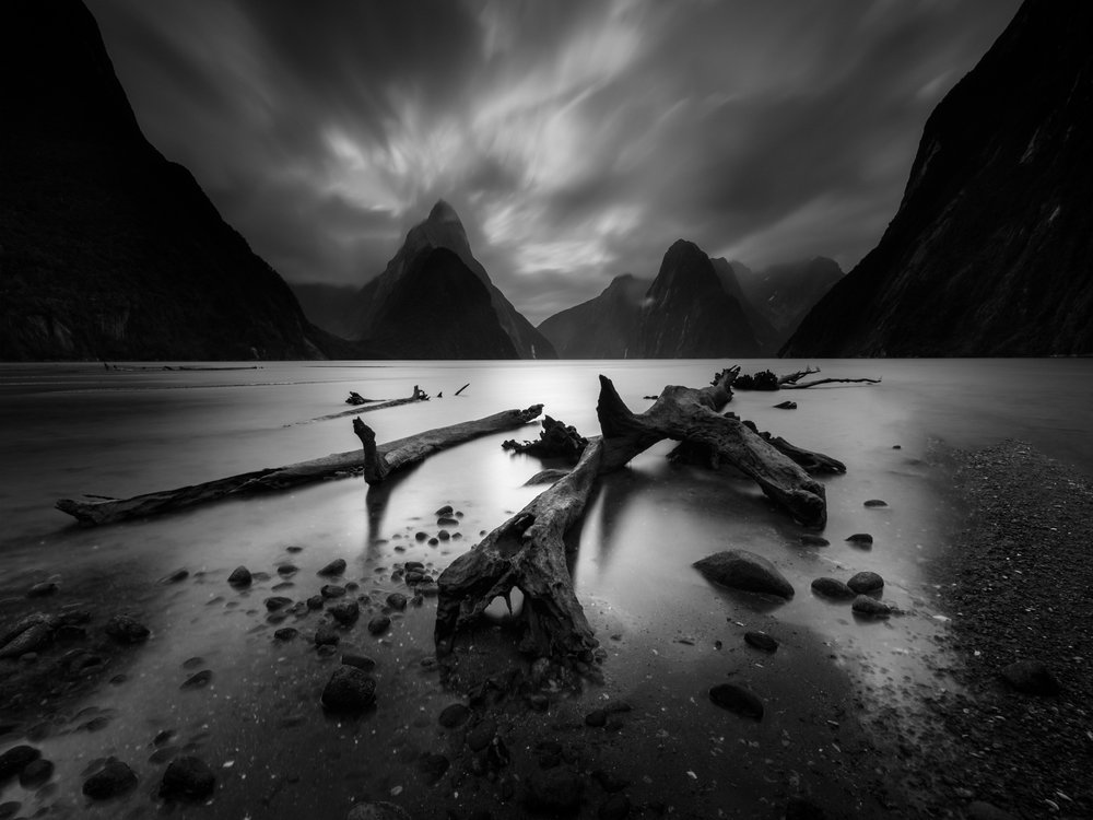 Black & White Category - Milford Sound at mid-tide (New Zealand)