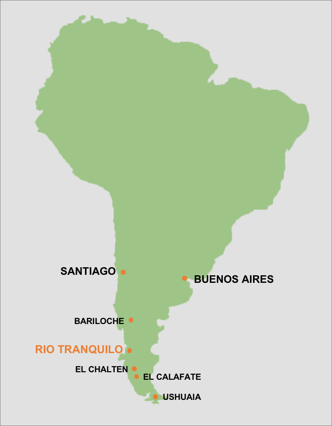 Relative location of Puerto Rio Tranquilo.