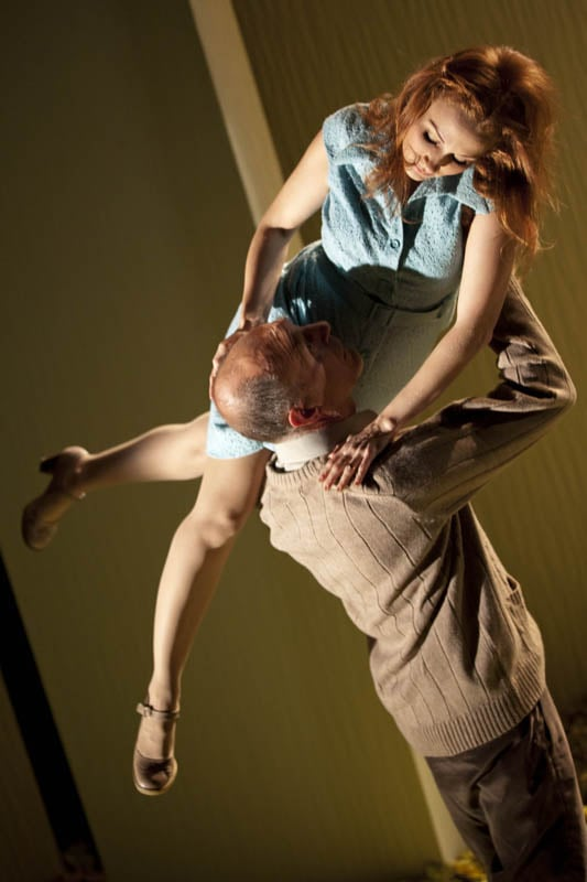Leanne Rowe (Magaret) and Sam Cox (Billy) in Frantic Assembly's Lovesong (Credit - Johan Persson).jpg