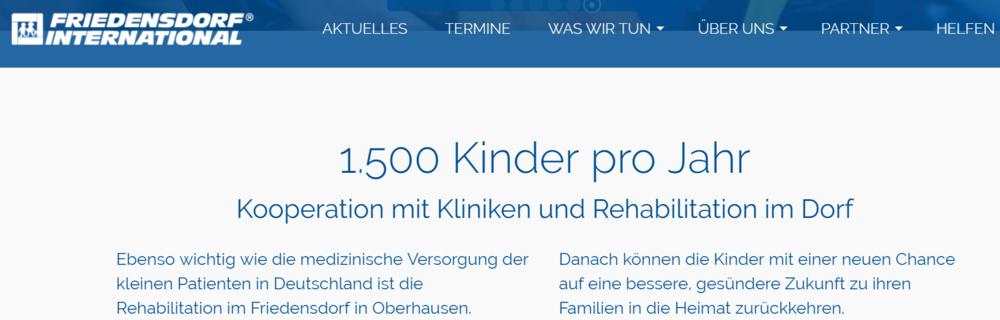 - Das Friedensdorf International in Oberhausen unterstützt Kinder aus Krisenregionen. Weitere Informationen finden Sie hier.