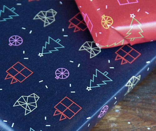 Huskies Gift Wrap Pattern Design