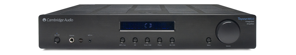Cambridge Audio Topaz AM10 Reg: $499      Sale: $399 The AM10 is a high performance amplifier with fantastic value. It features a front facing 3.5mm jack input, an integrated phono stage for turntable connection, and it has 35 watts of power per channel. Functionality and performance in one box.