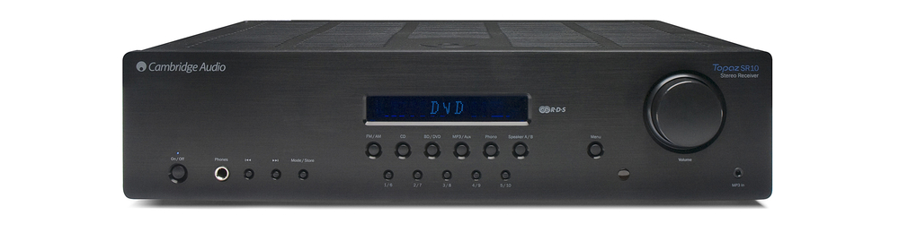 Cambridge Audio Topaz SR10 Stereo Reg: $649      Sale: $549 The SR10 has all the connectivity and features you could need. It boasts a built-in phono stage, a direct front panel input for iPod/ MP3 players, built-in FM/AM radio with RDS, and 4 analogue inputs for connecting all your sources. And it amplifies it all with a huge 85 watts of power per channel.