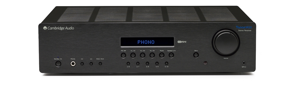 Cambridge Audio SR20 Stereo Receiver Reg: $799      Sale: $649 The SR20 is the most powerful amplifier in the Topaz range offering an immense 100 watts per channel, backed by a dedicated subwoofer output as well as two sets of speaker outputs. It also features analogue inputs, digital inputs, a phono stage, an FM receiver and an MP3 input, so it will connect and play virtually anything you throw at it.