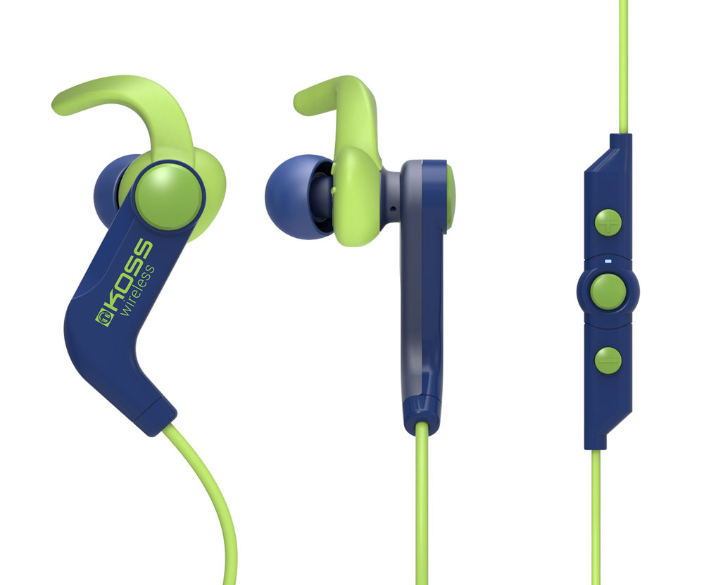 Koss BT190i - $69.99   Wireless Bluetooth® FitBuds  Bluetooth® 4.1 Technology  Built-in rechargeable lithium-ion battery  Sweat Resistant  Up to 6 hours of playtime (at moderate volume) on one charge  Up to 80 hours of standby time on one charge  Soft in-ear clips for a secure fit  Three sizes of cushions (Small, Medium, & Large)  USB cable
