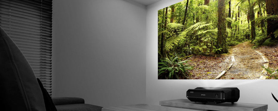 EPSON LS100 Ultra Short Throw Projector - Up to a 10' diagonal screen just inches from a wall