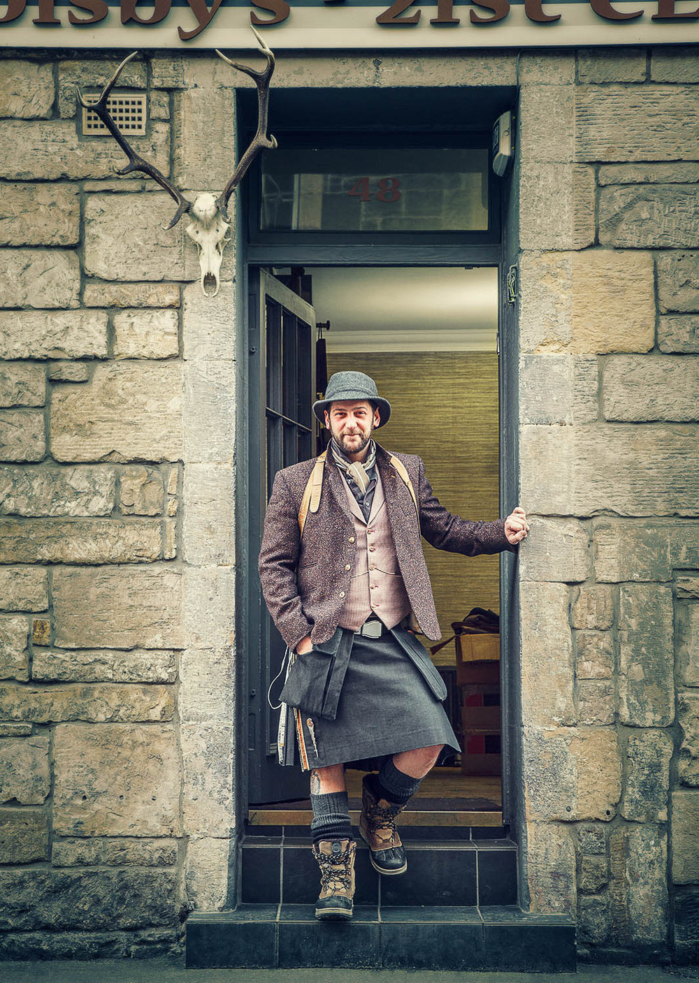 Howie Nicholsby, 21st Century Kilts -  From a Fairmont Magazine tour of Edinburgh.