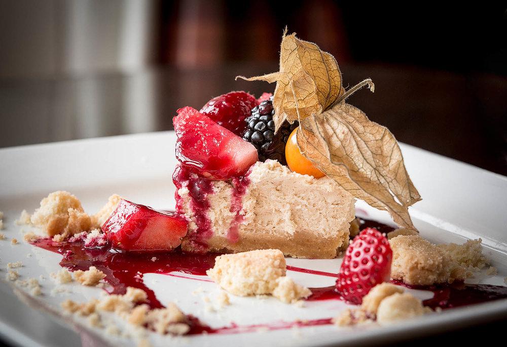 Cheesecake, Melville Castle, Edinburgh  - Dessert offering.