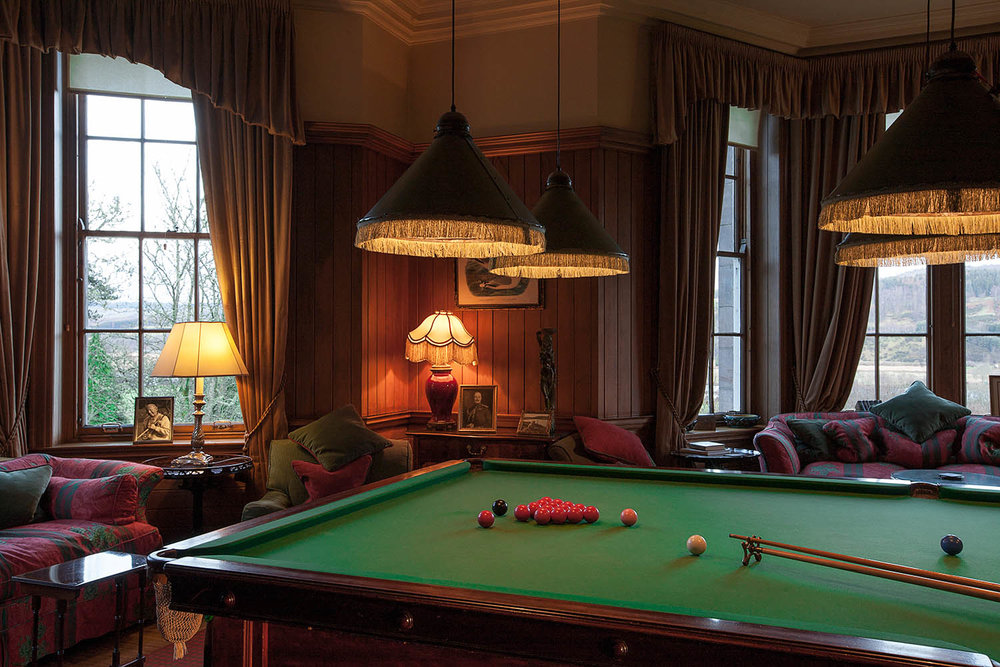Snooker table,  Kinnaird House Hotel  - Illustrating guest facilities at the hotel.