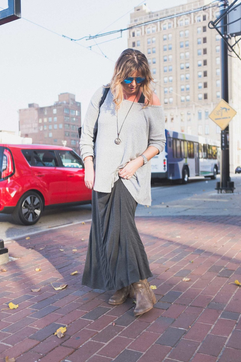 Jenn with the flow-y shirt over top the flow-y dress. This is fall style, right here.