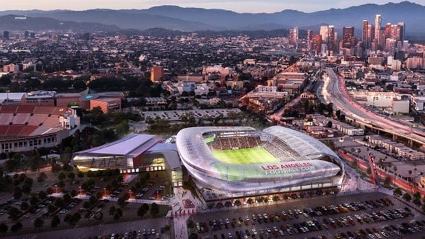 A concept of what the new LAFC Stadium will look like, courtesy of LAFC