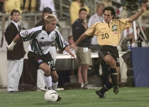 Mauro Biello defending a Colorado Rapids striker during the US Open Cup final in 1999.  The Rhinos went on to capture the cup with a 2-0 win, being the last non MLS team to do so.
