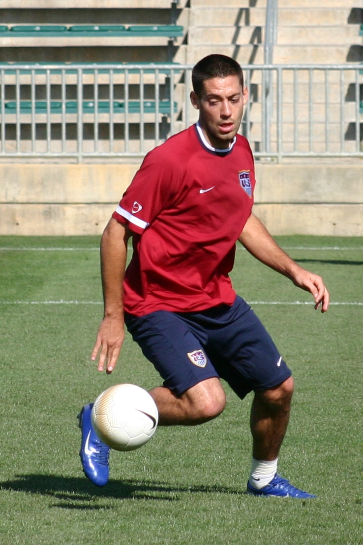 A young Clint Dempsey playing with the USMNT as a youngster