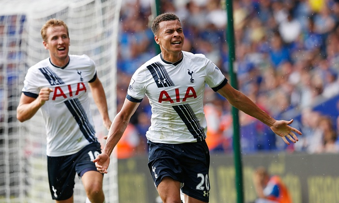 Dele Alli age 19 and Harry Kane age 22 celebrate Alli's goal for Tottenham Hotspur