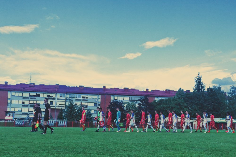 Zagreb, Croatia - Marching out. The U15 BNT makes their way onto the pitch against Montenegro.