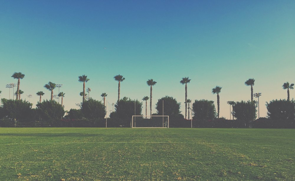 StubHub Center Carson, California - Posts and palm trees. Not a bad venue to host U-20 MNT training.