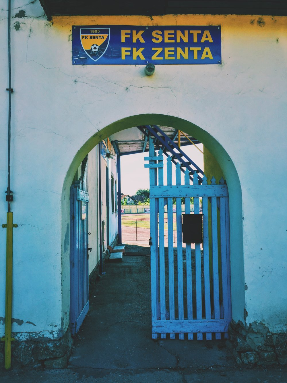 Senta, Serbia - Written in two languages, FK Senta in northern Serbia was also once part of Hungary during the second World War. The U-19 MNT met their French counterpart there during a a tournament in September, a team that included one of Zinedine Zidane's sons.