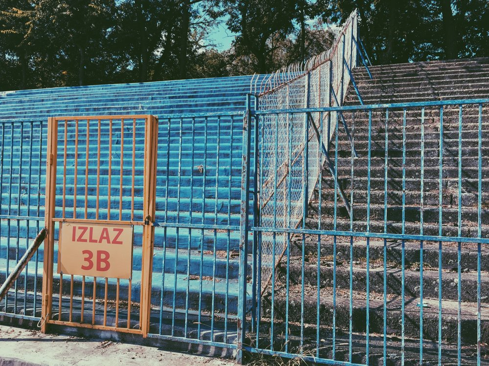 Subotica, Serbia - Barrier to separate home and away fans at the ground where the U-19 MNT took on the hosts, Serbia.