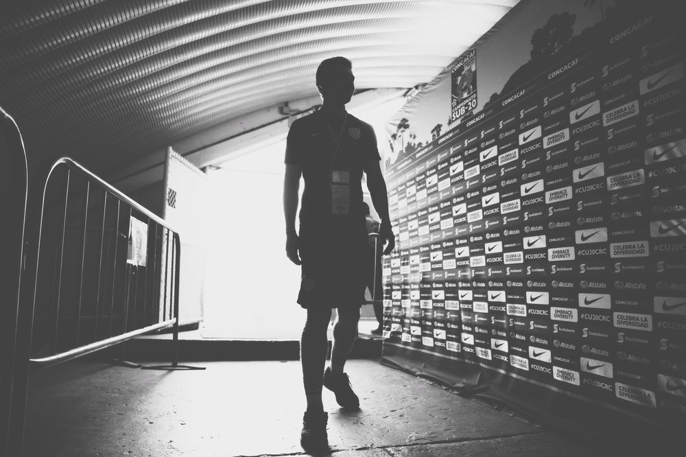 Estadio Ricardo Saprissa Aymá, San José, Costa Rica - Bobby in the tunnel at Saprissa pre-match before the U20 MNT beats rivals Mexico for the first time at that level in 31 years.