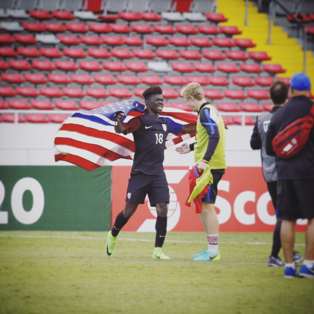 Estadio Nacional de Costa Rica, San Jose, Costa Rica - Scenes following the penalty shootout against Honduras in the final. The United States U20 MNT wins the qualifying tournament for the first time in their history.