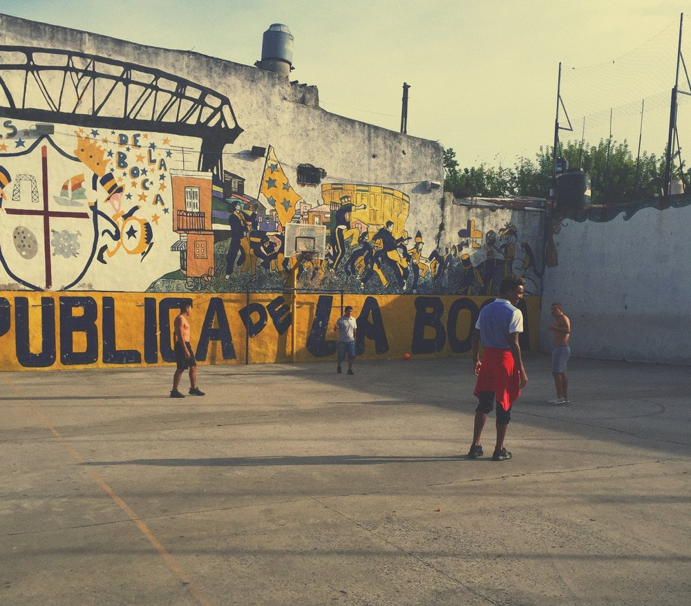 Buenos Aires, Argentina - Joining in on a little barrio football in a Boca neighborhood.