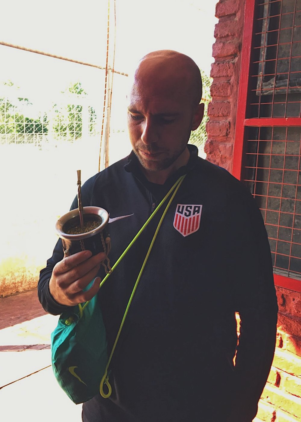 Buenos Aires, Argentina - Can't go to Argentina without trying the Mate. It would be unwise. Kevin doing as the locals do here.