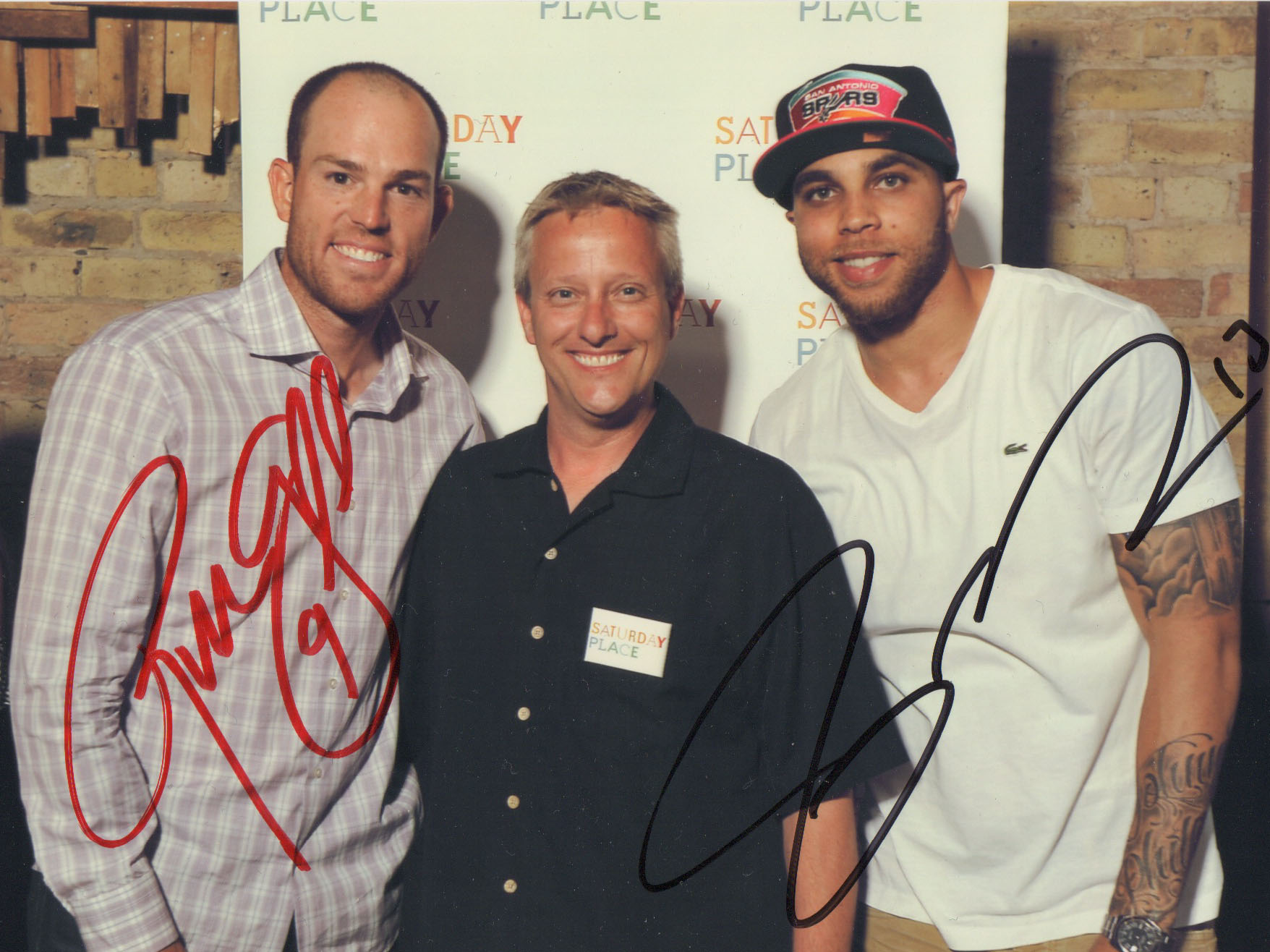 Pictured with Curtis Newborn are Robbie Gould and Johnn.y Knox