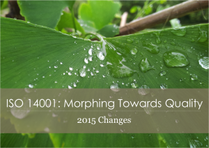 ISO 14001 Morphing Towards Quality