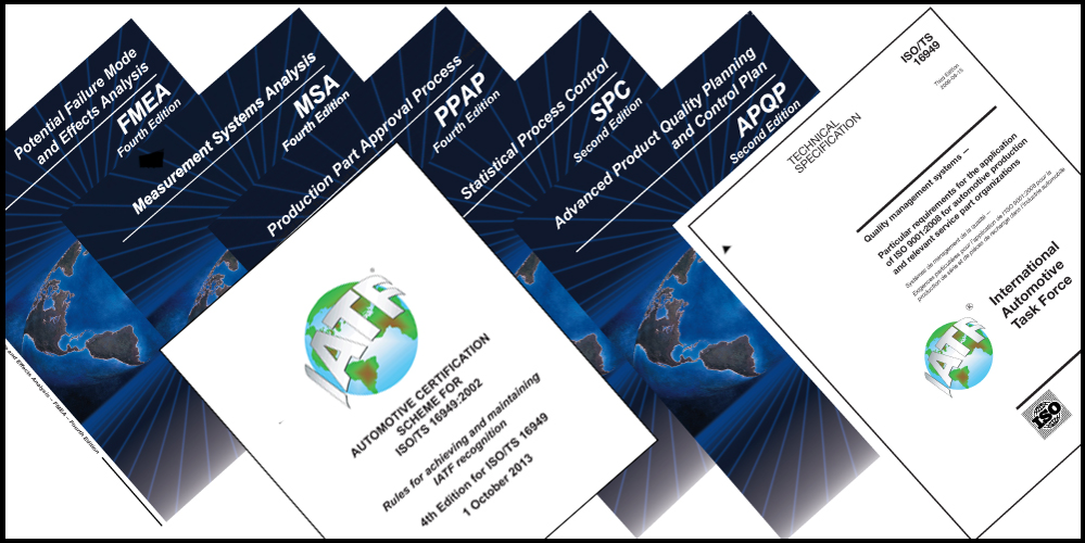 5 Core Tool Manuals - APQP - Advanced Product Quality Planning & Control PlanPPAP - Product Part Approval ProcessFMEA - Failure Mode and Effects AnalysisMSA - Measurement System AnalysisSPC - Statistical Process Control