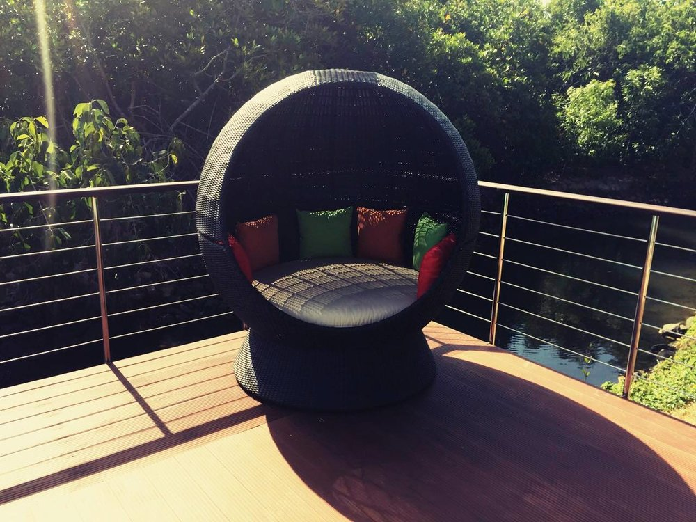 "The ""Orlena"" style by Swiss brand ""Sophie Garcia"" - adding chic style to boutique hotel Villa Hundira's pool deck."