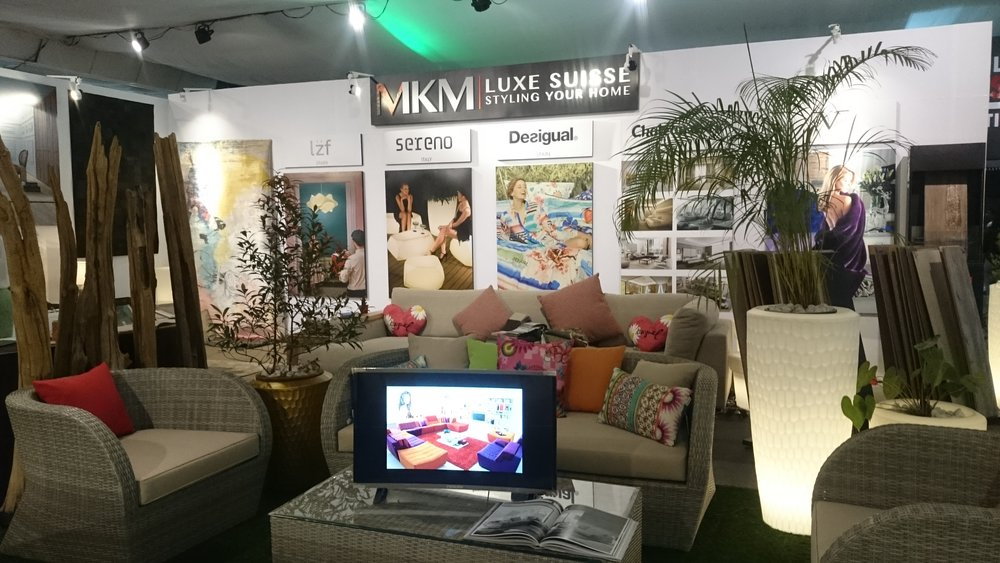 Our stand ready for the opening, showcasing our incredible range of famous brands from Europe to decorate your home inside & out with style, luxury and comfort