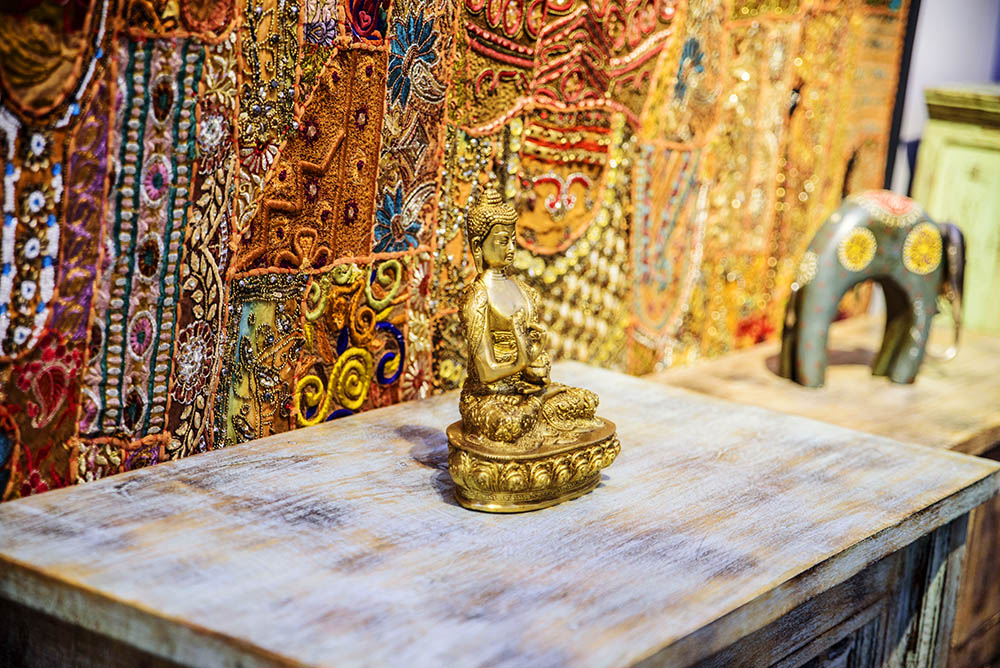 Bring peace to your Christmas with this beautiful Buddha statue.  Or maybe you love the handmade wall hanging in the background that takes 3 months to make?