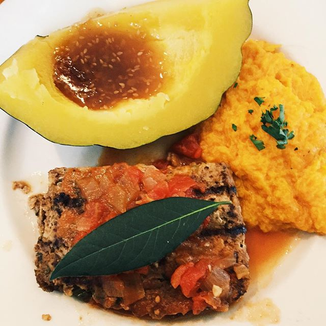 Grilled meatloaf with a side of sweet mash potatoes and acorn squash #meatloaf #acornsquash #sweetmashedpotatoes #austin #atx #eastsidecafeaustin #foodie #thefoodfantasy
