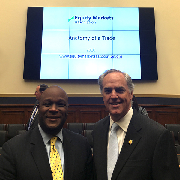Michael Williams (left) and former Congressman Mike Ferguson participated in the Equity Markets Association congressional staff briefing. Ferguson and Williams serve as EMA co-directors.