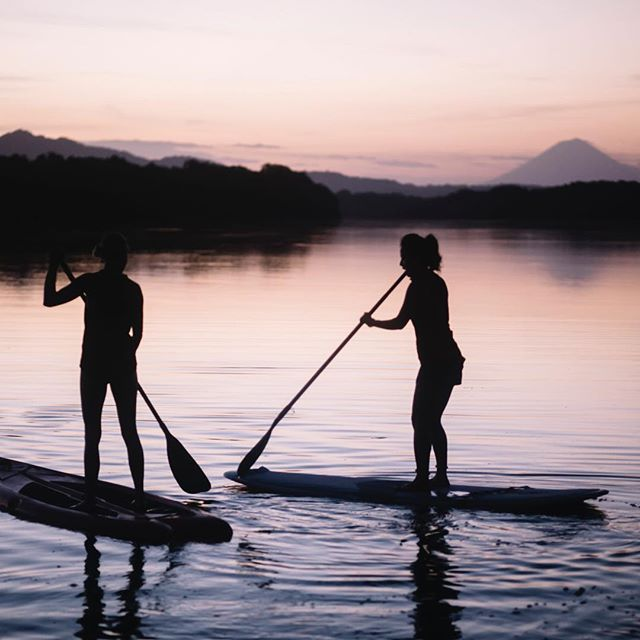 "Big thanks to Chriselda for the photo and ""Journey"" for coming to Monty's After building 26 homes early August! Amazing people! I took groups out to our estuary for sunrise each day.. #chriseldaphotography #journeytonicaragua #sunrise #sup"