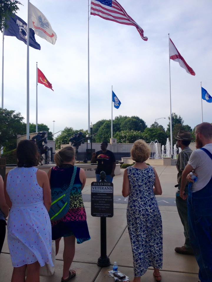 TC at the Veterans Memorial during the Rocket City Reading Tour
