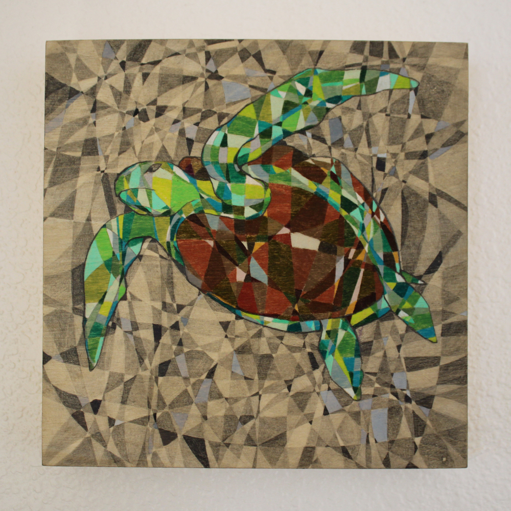 Flying Honu Pencil on Panel 8in x 8in 2015 Boz Schurr.jpg