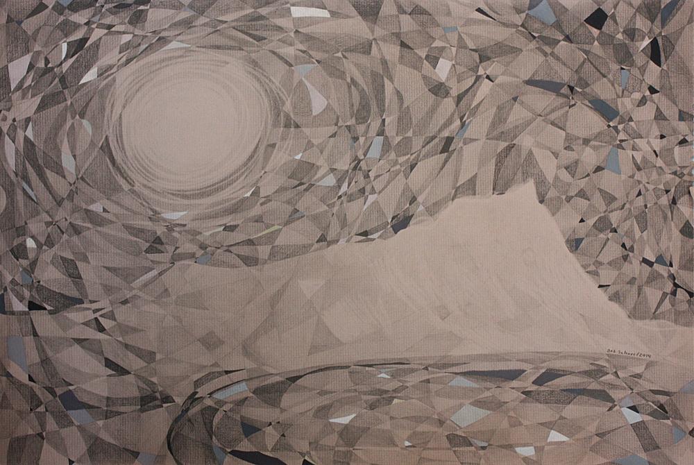 Leahi DiamondHead in Moonlight Pencil on Paper 12in x 18in 2014_SOLD.JPG