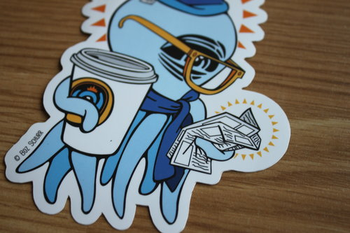 Blue Coffee Squid Sticker