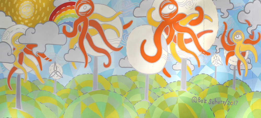 "The final Mural: ""Sustainable Squids"" 8"" x 20"" Uh Manoa, House Paint on Board, 2017"