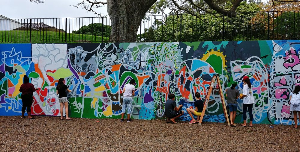 Spring 2018 Student Mural for the Honolulu Museum of Contemporary Art at Spalding House.  See the timelapse video  HERE !