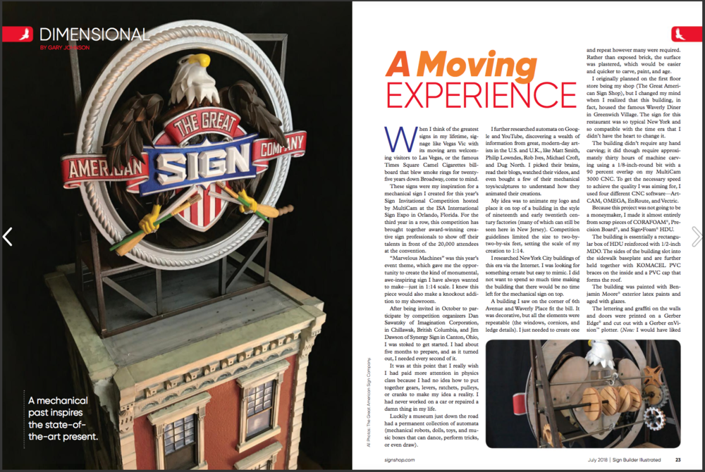 It's always a great honor to have one of our carved signs featured in a leading trade publication like Sign Builder Illustrated. If you would like to read the story behind our mechanical creation, a digital copy of the article can be found on the following link. http://issuu.com/signbuilderillustrated/docs/sign_builder_illustrated_july_2018/24?e=4465841/62581930  To see a video of our dimensional sign in action, visit https://www.youtube.com/watch?v=XJuZXgChqlU  Thank You Sign Builder!