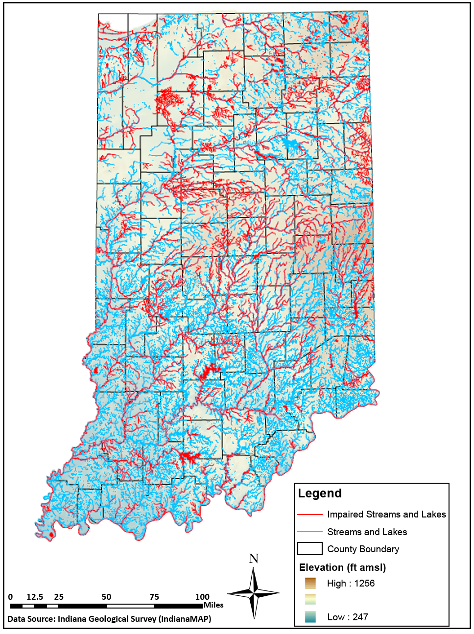 Figure 7. Category 5 impaired streams and lakes in Indiana (IDEM, 2016).