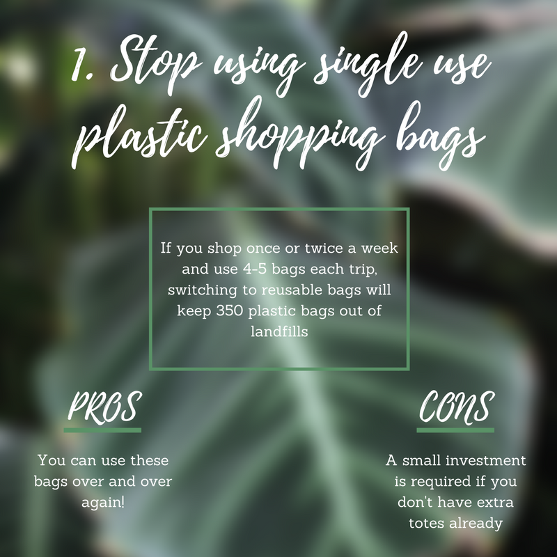 Stop using single-use plastic shopping bags.  This is one of the easiest steps you can take on a weekly basis. I don't know about you, but I grocery shop 1 or 2 times a week. At 4-5 grocery bags worth, switching to reusable bags has saved our planet 350 plastic bags a year from my family alone!    Pro:  You can use the same bags over and over again and every time you do you're making a difference.   Con:  This practice requires a little investment in purchasing reusable bags if you don't have any extra totes at home.   Pro tip:  Leave bags in the trunk of your car, the bottom of your purse, a drawer at work, or wherever you frequent most so you have them when you need them. Any tote or bag you have works; they don't have to be store bought or fancy.