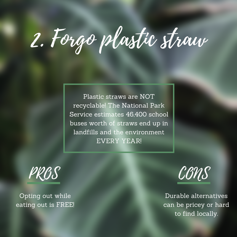 "Forgo the straw.   The National Park Service  estimates a total of 46,400 school buses worth of plastic straws yearly end up in landfills and the environment. Forgo the straw or opt to use a eco-friendly one. I carry a case of stainless steel straws with me everywhere, my busy friends have paper ones, and I've been to a restaurant that uses hollowed pieces of bamboo!   Pro:  Opting out of using a straw at a restaurant is free!   Con:  More durable reusable options can be quite pricey, but they're worth, right?   Pro tip:  Get in the habit of telling your server right away that you would not like a straw. It's as easy as saying, ""Water, no ice"": ""Lemonade, no straw."""