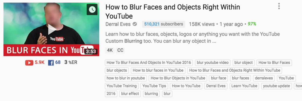 quickly blur objects and faces right in youtube
